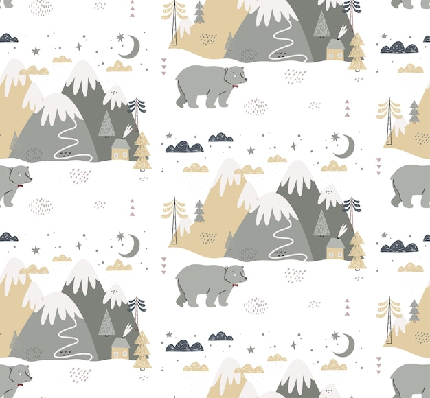 Seamless pattern with bear, mountains, trees, clouds, snow, and house. hand drawn winter illustration in scandinavian style for kids.