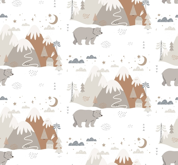 Seamless pattern with bear, mountains, trees, clouds, snow, and house. scandinavian style