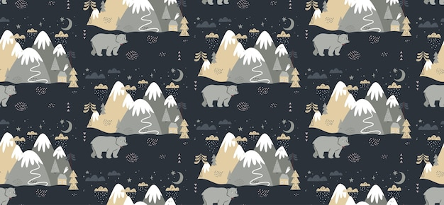Seamless pattern with bear, mountains, trees, clouds, snow, and house.
