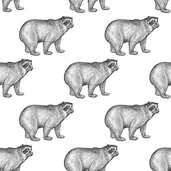 Seamless pattern with bear.