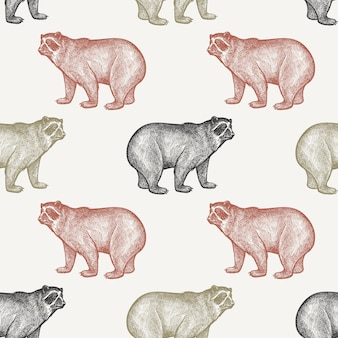 Seamless pattern with bear.