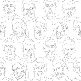 Seamless pattern with bearded man portrait one line art