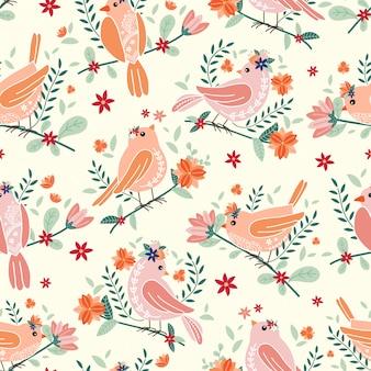 Бесшовный фон с красивыми птицами и цветами