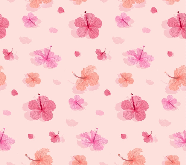 Seamless pattern with beautiful blooming hibiscus