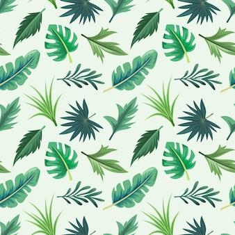 아름 다운 이국적인 열 대 잎과 완벽 한 패턴입니다.
