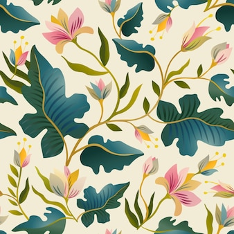Seamless pattern with beautiful fantastic plants.