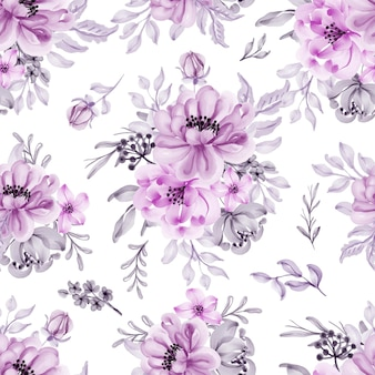 Seamless pattern with beautiful lilac flower and leaves