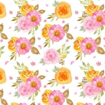 美しいピンクと黄色の花のシームレスパターン