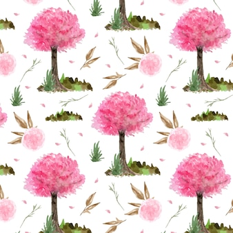 Seamless pattern with beautiful pink cherry blossom garden
