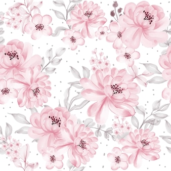 Seamless pattern with beautiful pink flower and leaves