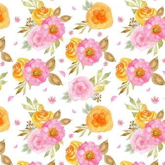Seamless pattern with beautiful pink and yellow flowers