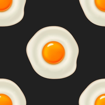 Seamless pattern with beautiful realistic fried egg.