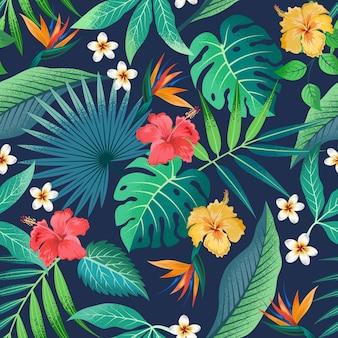 Бесшовный фон с красивыми тропическими цветами и листьями экзотического фона