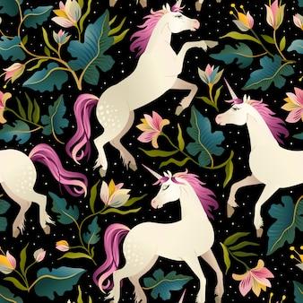 Seamless pattern with beautiful unicorns.