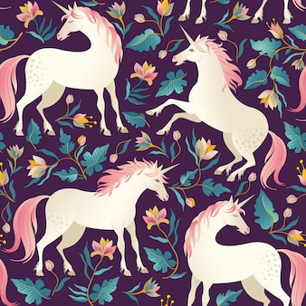 Seamless pattern with beautiful unicorns.