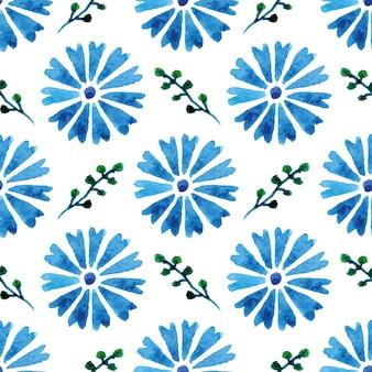 아름 다운 수채화 cornflowers와 함께 완벽 한 패턴입니다. 파란 꽃. 디자인 및 장식 배경입니다.
