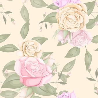 美しいバラの花束とのシームレスなパターン