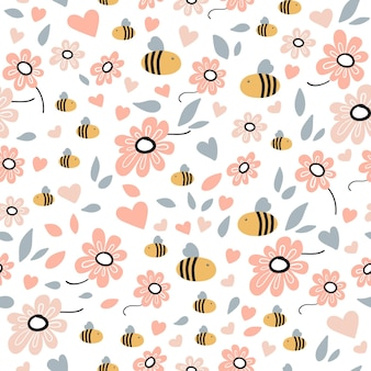 Seamless pattern with bee, flowers, leaves and hand drawn elements