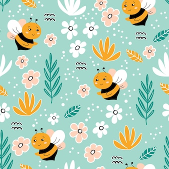 Seamless pattern with bee flowers leaves and hand drawn elements