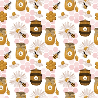 Seamless pattern with bee, honey and honeycomb.