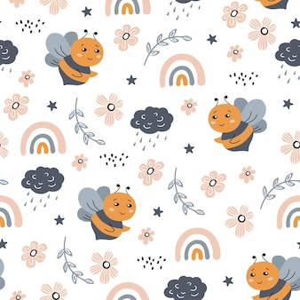Seamless pattern with bee rainbow cloud and hand drawn elements