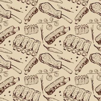 Бесшовные с говяжьими ребрами. мясопереработка. элемент для плаката, упаковочная бумага. иллюстрация