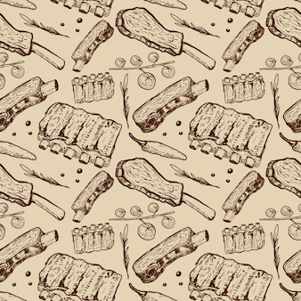 Seamless pattern with beef ribs. butchery.  element for poster, wrapping paper.  illustration