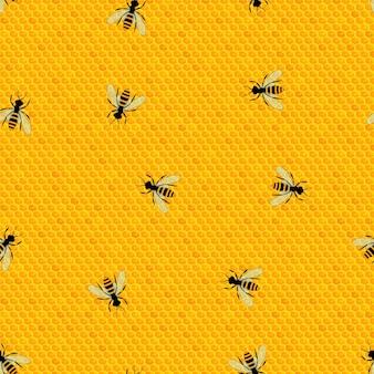 꿀벌과 함께 완벽 한 패턴입니다. 밝은 벌집. 맛있고 건강한 꿀. 곤충과 배경입니다. 양봉장의 개념입니다. 벡터 일러스트 레이 션.