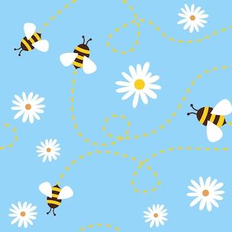 Seamless pattern with bees and flowers on blue background.