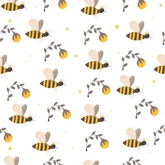 スカンジナビアスタイルのミツバチとのシームレスなパターン。手描き