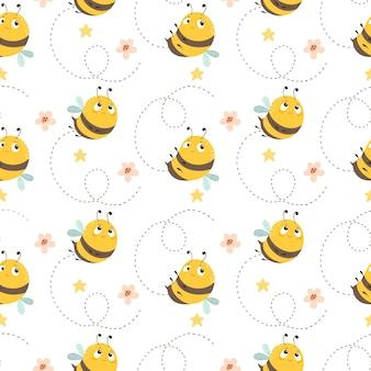Бесшовный фон с пчелами на летнем фоне