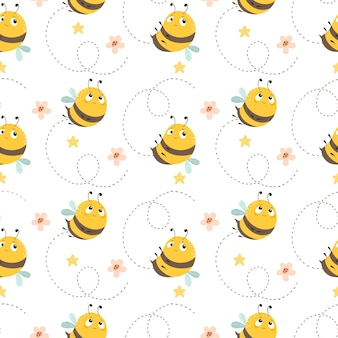 Seamless pattern with bees on a summer background