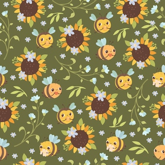 Seamless pattern with bees and sunflowers