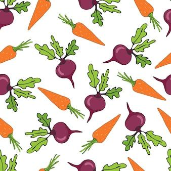 Бесшовный фон с свеклой и овощами из моркови. векторная иллюстрация