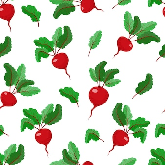 사탕 무우 야채 패턴 주방 섬유 재고 벡터 일러스트와 함께 원활한 패턴