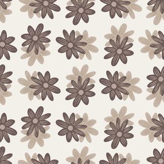 ベージュのランダムなデイジーの花の飾りとのシームレスなパターン。自然の背景。フィールドナチュラルプリント。紙や布のテクスチャを包むためのグラフィックデザイン。ベクトルイラスト。
