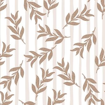 ベージュのシンプルな葉の枝とのシームレスなパターン。