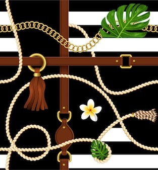 Seamless pattern with belts, chain and exotic leaves for fabric design