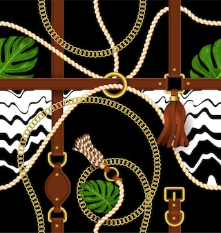 Seamless pattern with belts, chain and exotic leaves for fabric design.