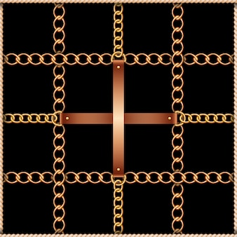 Seamless pattern with belts, chains and rope on black