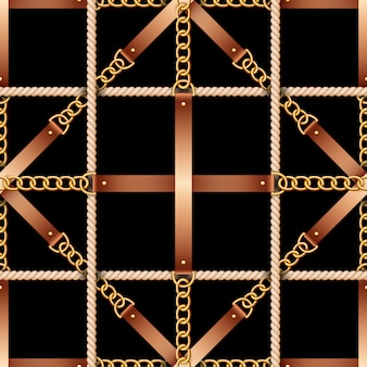 Seamless pattern with belts, chains and rope