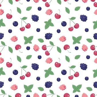 Бесшовный фон с ягодами и листьями мяты