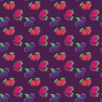 Seamless pattern with berries. blueberry, strawberry and raspberries. pixel pattern for wallpaper, wrapping paper, for fashion prints, fabric, design.