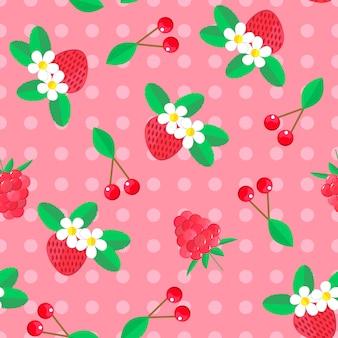 果実とのシームレスなパターン。チェリーとイチゴ