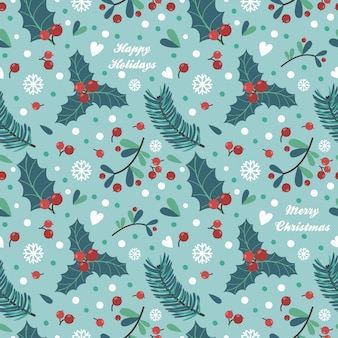 Seamless pattern with berries, leaves