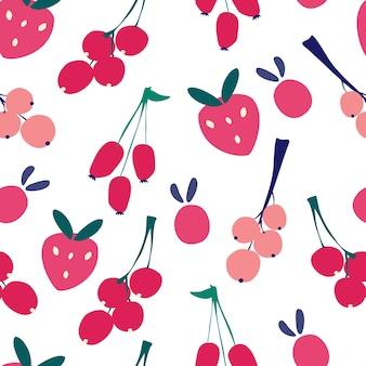 딸기와 원활한 패턴 채식주의 메뉴 건강 식품 신선한 유기농 주방