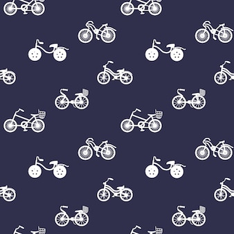 Seamless pattern with bicycle silhouettes bikes ornament on blue backgrounds