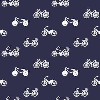 파란색 배경에 자전거 실루엣 자전거 장식으로 완벽 한 패턴
