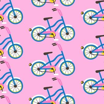 분홍색 배경에 자전거와 함께 완벽 한 패턴입니다. 포장지, 섬유 인쇄, 벽지에 대한 평면 만화 스타일