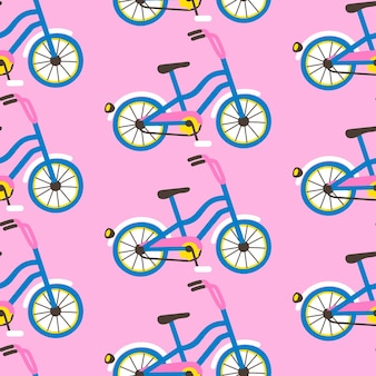 Seamless pattern with bicycles on pink background. flat cartoon style for wrapping paper, textile print, wallpaper
